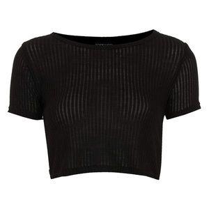 Topshop Crop Ribbed T-Shirt